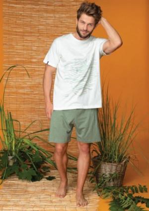 Key MNS 728 A20 pánské pyžamo XXL ecru-zelená