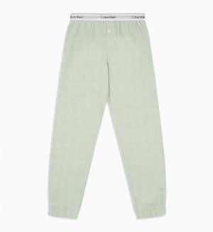 Dámské pyžamové kalhoty QS5934E-FPV zelená - Calvin Klein zelená