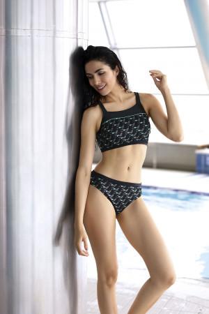 Dvoudílné dámské plavky Self S 47N černá-tm.šedá S-36