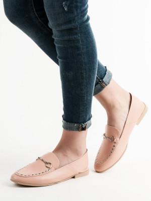 Komfortní růžové  mokasíny dámské bez podpatku