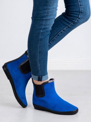 Komfortní dámské  gumáky modré bez podpatku