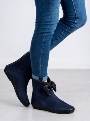 Stylové dámské  gumáky modré bez podpatku
