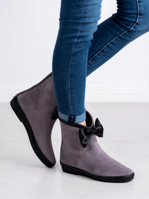 Jedinečné dámské šedo-stříbrné  gumáky bez podpatku