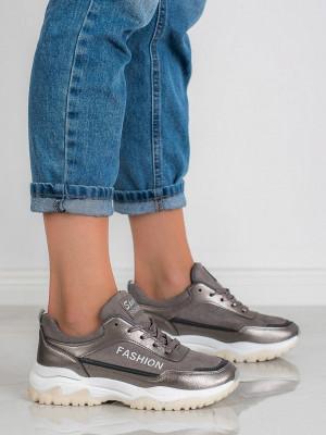 Módní  tenisky dámské šedo-stříbrné bez podpatku
