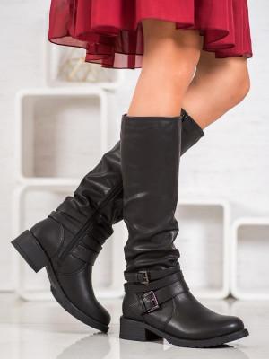 Krásné dámské černé  kozačky na širokém podpatku
