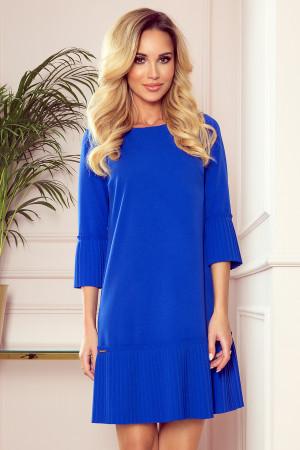 LUCY - Pohodlné plisované dámské šaty v chrpové barvě 228-8
