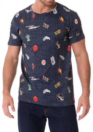 Pánské tričko John Frank JFTD01 L Modrá