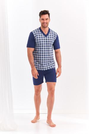Krátké pánské pyžamo 001 ROMAN 2XL-3XL tmavě modrá 2XL