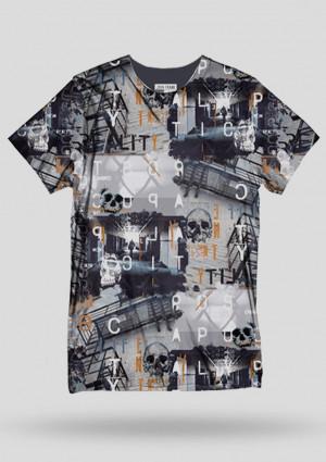Pánské tričko John Frank JFTD27  L Tm. šedá