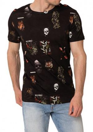 Pánské tričko John Frank JFTD17  L Černá