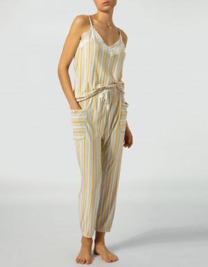 Dámské pyžamové kalhoty 853109H-114 - Jockey šedo-žlutá M-38