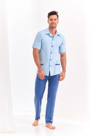 Taro Feliks 2390 L'20 pánské pyžamo XL světle modrá-tmavě modrá