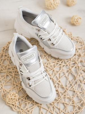 Jedinečné bílé  tenisky dámské bez podpatku