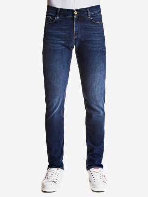Džíny Trussardi 370 Close Denim Cross/Logo Fantasy Modrá