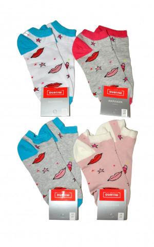 Dámské nepárové vzorované kotníkové ponožky Milena 1146  mix wzór 37-41