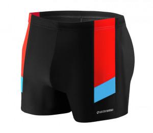 Pánské plavky - boxerky BD 381 - Sesto Senso černá-modrá-červená