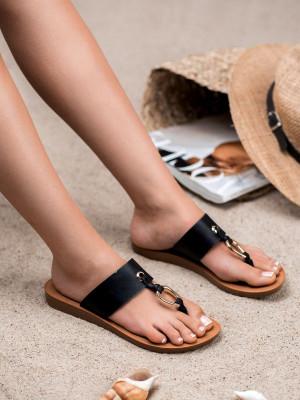Luxusní dámské  nazouváky černé bez podpatku