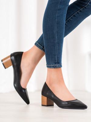 Trendy  lodičky černé dámské na širokém podpatku