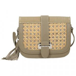 Módní khaki crossbody kabelka s pleteným vzorem na přední straně univerzální