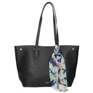 Módní černá ažurová kabelka s šátkem