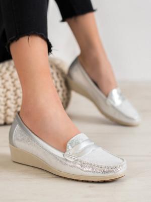 Komfortní šedo-stříbrné  mokasíny dámské bez podpatku