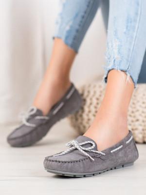 Pohodlné dámské  mokasíny šedo-stříbrné bez podpatku