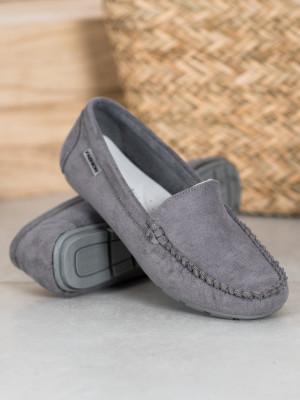 Trendy  mokasíny šedo-stříbrné dámské bez podpatku
