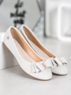 Luxusní dámské  baleríny šedo-stříbrné bez podpatku