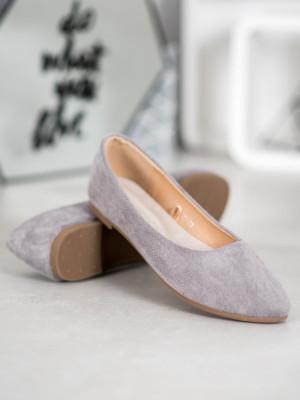 Pohodlné dámské šedo-stříbrné  baleríny bez podpatku