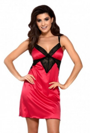 Vena VHL-390 Červená+černá Noční košilka L červeno-černá