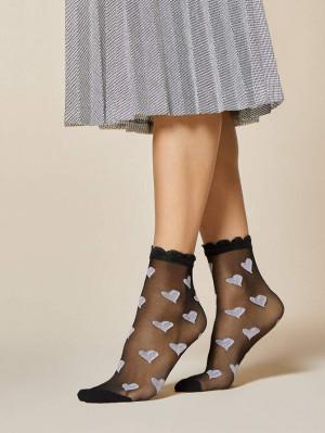 Ponožky Fiore Lullaby G 1054 20 den černá-fialová univerzální