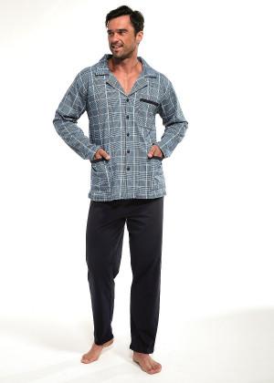 Pánské rozepínané pyžamo Cornette 114/16 dł/r M-2XL jeans