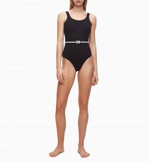 Jednodílné plavky KW0KW00985-BEH černá - Calvin Klein černá