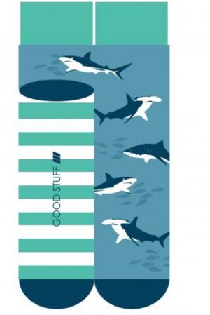 Ponožky SOXO GOOD STUFF ZAKOSTKI - Žraloci modrá/zelená 40–45