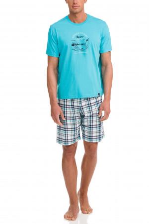 Pánské pyžamo 12722-282 modrobílá - Vamp modro-bílá