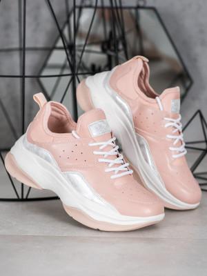 Luxusní  tenisky růžové dámské bez podpatku