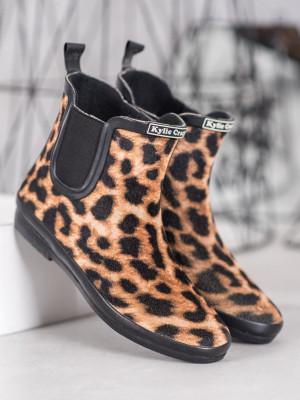 Trendy se zvířecím motivem  gumáky dámské na plochém podpatku
