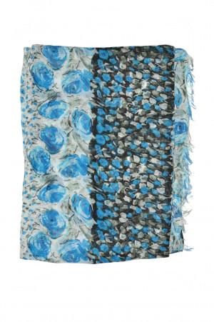 Dámská šála Art 19012 Květinová louka modrá 200x90 cm