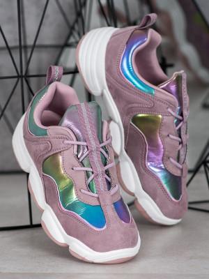 Designové  tenisky fialové dámské bez podpatku