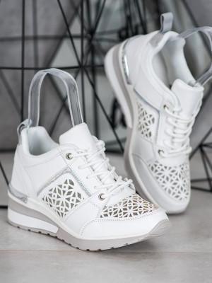 Designové  tenisky dámské bílé bez podpatku