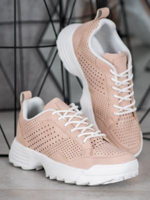 Komfortní dámské růžové  tenisky bez podpatku