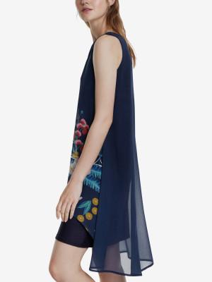 Šaty Desigual Vest Carnegie Modrá