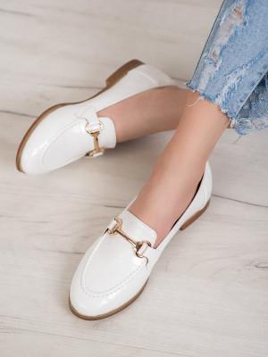 Trendy  mokasíny dámské bílé bez podpatku