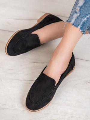 Trendy  mokasíny černé dámské bez podpatku