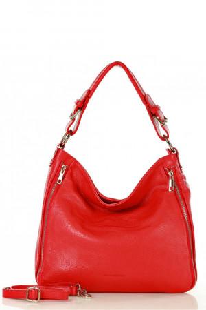 Dámská přírodní kožená taška model 140754 - Mazzini červená uni