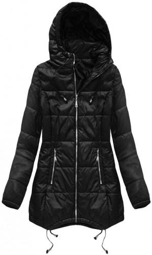 Černá prošívaná bunda s kapucí (B1082-30) černá XXL (44)