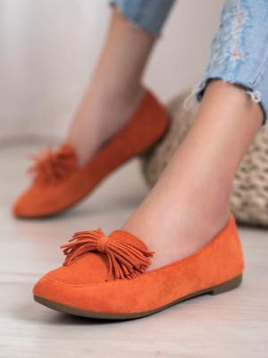 Komfortní  mokasíny oranžové dámské bez podpatku