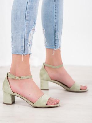 Jedinečné  sandály zelené dámské na širokém podpatku