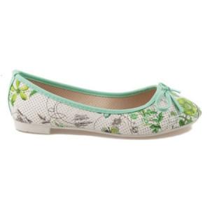 Zelené balerínky s květy