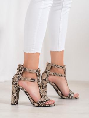 Luxusní dámské  sandály se zvířecím motivem na širokém podpatku